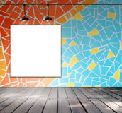 Blank frame on mosaic tile wall with Ceiling lamp Stock Images