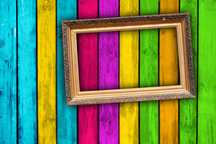 Blank Frame On Multicolored Wood Background Stock Photography
