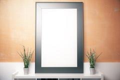Blank frame on orange wall Stock Photos