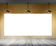 Blank frame in room with ceiling lamp Royalty Free Stock Image