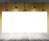Blank frame in room with ceiling lamp Stock Photos