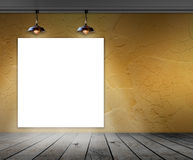 Blank frame in room with ceiling lamp Royalty Free Stock Photography