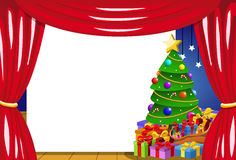 Blank frame stage decorated Christmas tree vector illustration