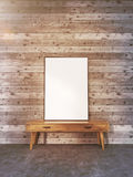 Blank frame on stand toning. Blank picture frame on small wooden stand in interior with plank wall and concrete floor. Toned image. Mock up, 3D Rendering Royalty Free Stock Photo