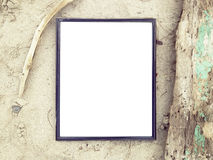 Blank Frame top view at sand beach Stock Images