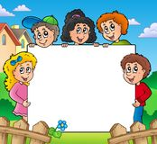 Blank frame with various kids Stock Photos