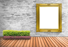 Blank frame vintage on a concrete wall with tree pot on wood flo Stock Photo