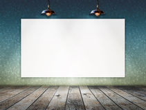 Blank frame on wall with Ceiling lamp for information message Stock Photography
