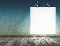 Blank frame on wall with Ceiling lamp for information message Stock Images
