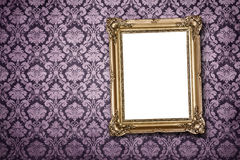 Blank frame at the wall with clipping path Royalty Free Stock Photo