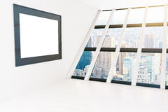Blank frame white room. Blank frame in white interior with panoramic windows and city view. Mock up, 3D Rendering Royalty Free Stock Image