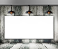 Blank frame on wood wall with Ceiling lamp Stock Images