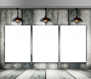 Blank frame on wood wall with Ceiling lamp Royalty Free Stock Photo
