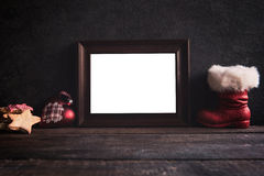 Blank frame on wooden background Royalty Free Stock Photos