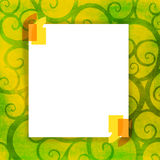 Blank frame for your message. Blank white frame for your message on floral design decorated background Royalty Free Stock Photography
