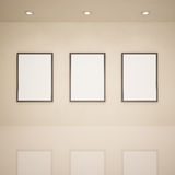 Blank frames in art gallery Royalty Free Stock Image