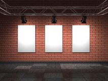 Blank Frames on Bricks Wall. Royalty Free Stock Images