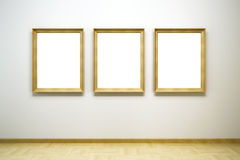 Blank frames in the gallery. 3d rendering Stock Photos