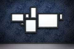 Blank frames in the gallery. 3d rendering Royalty Free Stock Images