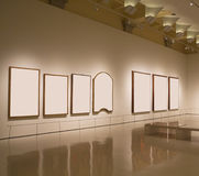 Blank frames in a gallery. Blank frames in a wall, exhibition gallery indoor Stock Image