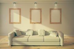 Blank frames in loft interior Royalty Free Stock Photo