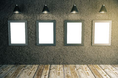 Blank frames in room Royalty Free Stock Photos