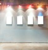 Blank frames on the wall. At art gallery Royalty Free Stock Photos