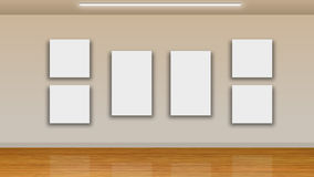 Blank frames on wall - interior gallery Royalty Free Stock Photo