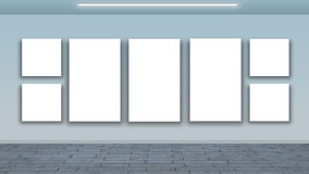 Blank frames on wall - interior gallery Royalty Free Stock Photography