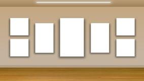 Blank frames on wall - interior gallery Stock Photos