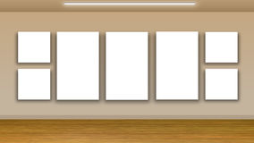 Blank frames on wall - interior gallery Royalty Free Stock Images