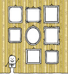 Blank frames on wallpaper. Vector hand-drawn characters line & pattern Royalty Free Stock Photos