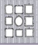 Blank frames on wallpaper. Vector hand-drawn frames & pattern Royalty Free Stock Images