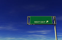 Blank - Freeway Next Exit Sign Royalty Free Stock Photos