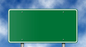 Blank Freeway Sign on Blue Sky Royalty Free Stock Images