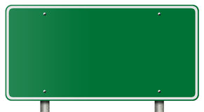 Blank Freeway Sign Isolated on White royalty free stock images