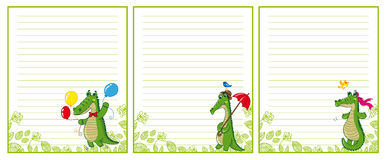 Blank with  funny crocodiles Stock Photo
