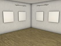 Blank gallery. Computer made 3D gallery with 4 blank pictures Stock Photo