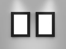 Blank Gallery Frames with Black Border Stock Photography