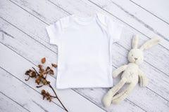 Gender neutral white baby grow mockup