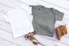 Gender neutral white and grey baby grow mockup