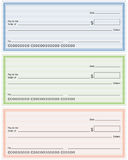 Blank Generic Bank Checks. In three different colors, isolated on white background. Eps file available Royalty Free Illustration