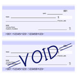 Blank generic cheques. Illustration of fictitious generic blank and void cheques (checks)- in dollars Royalty Free Stock Images