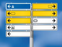 Blank German Directional Signs. Fully shaded. Background, skeleton, plates, shadows, arrows and symbols on individual layers Stock Images