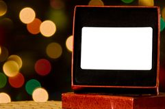 Blank gift card with defocused lights Stock Photos