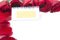 Blank gift card  in the frame of red roses. Frame of red roses around blank gift cards on a white background Royalty Free Stock Photos