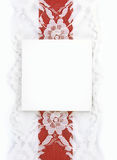 Blank Gift Card with Red and Lace Ribbon Stock Image