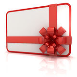 Blank gift card with red ribbon Stock Photo