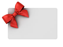 Blank gift card with red ribbon bow isolated on white. Background . 3D rendering Royalty Free Stock Image