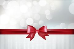 Blank gift card with red ribbon, bow and sparkles. Illustration Royalty Free Stock Photography